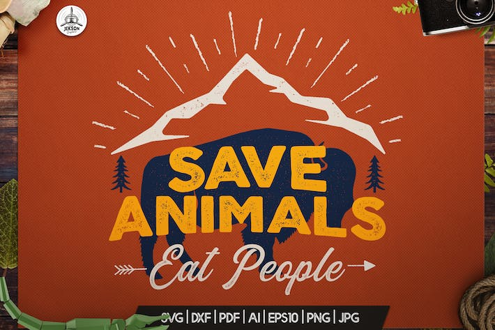 Thumbnail for Retro Nature T-Shirt Print, Animal Save Funny Logo