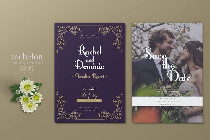 Minimalist Wedding AI and PSD Invitation Vol.08