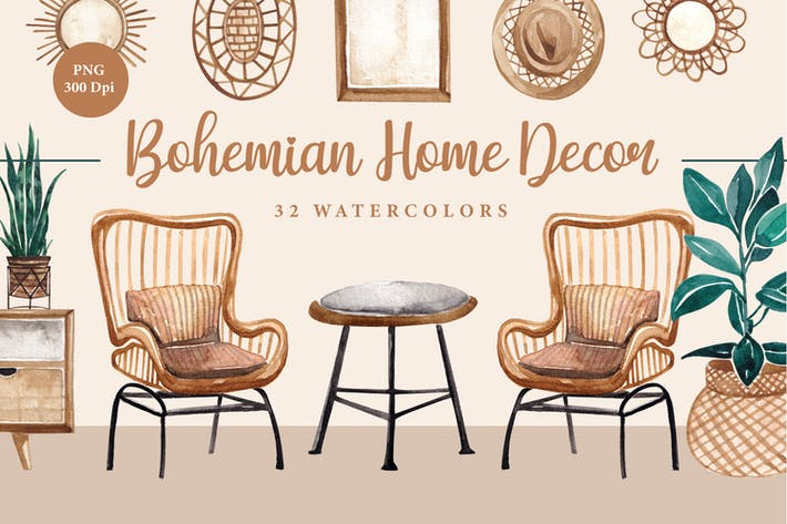 Bohemian Home Decor Asset Aquarelle