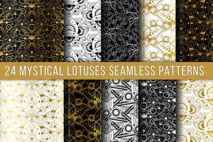 Mystical Lotuses Seamless Patterns Set