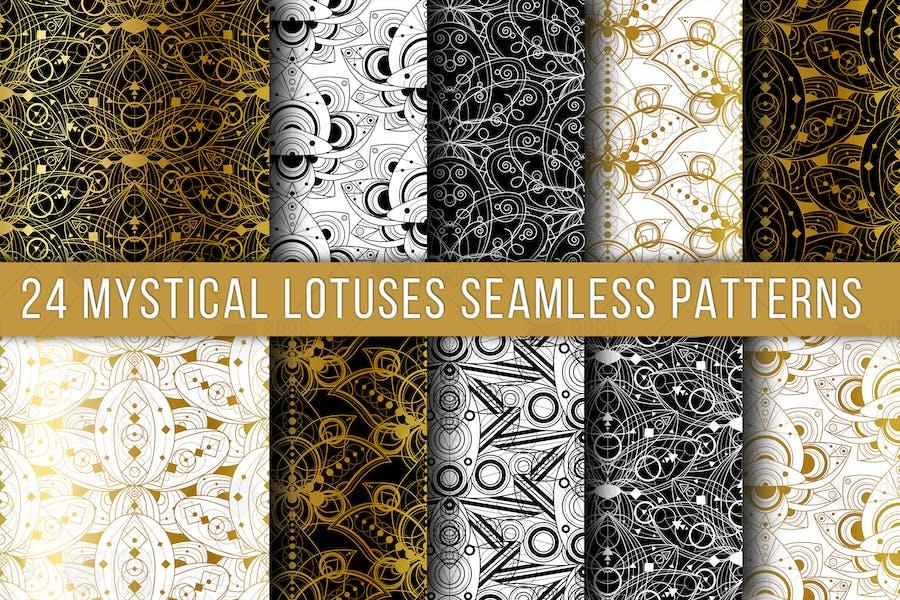 Mystical Lotuses Seamless Patterns Set