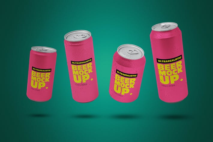 Thumbnail for Levitating Clean Beer Can Pack Mockup