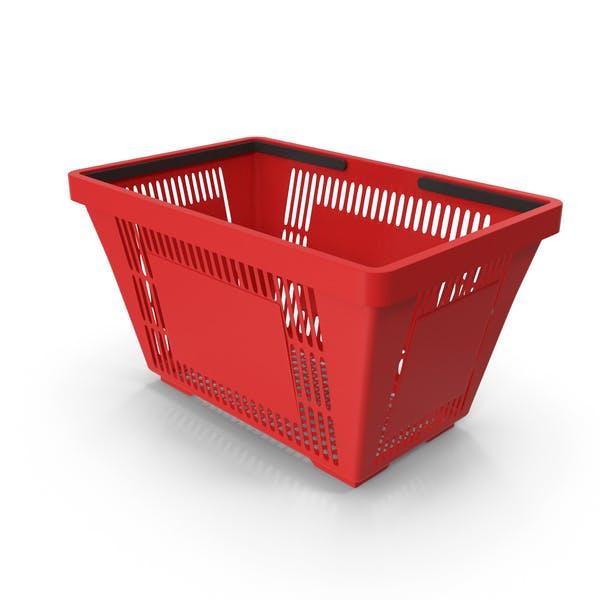 Красная корзина для покупок с пластиковыми ручками