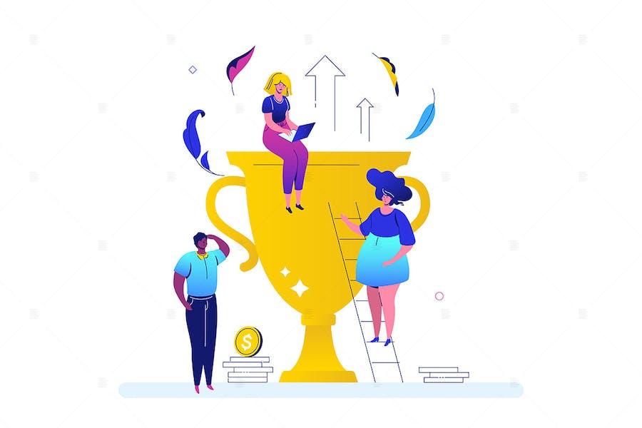Business success - flat design style illustration