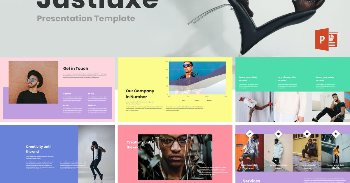 Justluxe - Male Lookbook Powerpoint Templates by deTheme