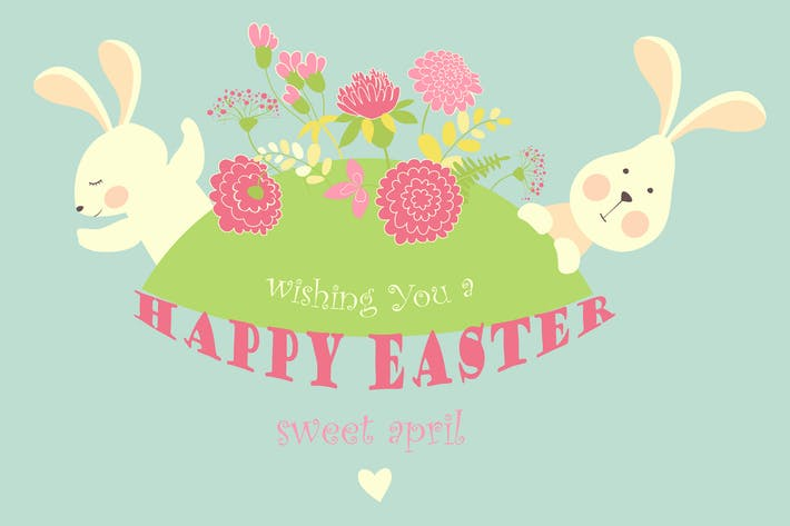Thumbnail for Cute easter bunnies with flowers. Vector