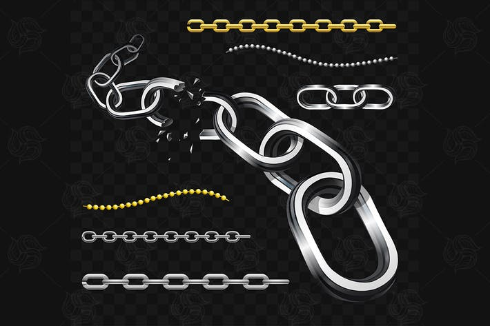 Thumbnail for Chains - modern vector realistic isolated clip art