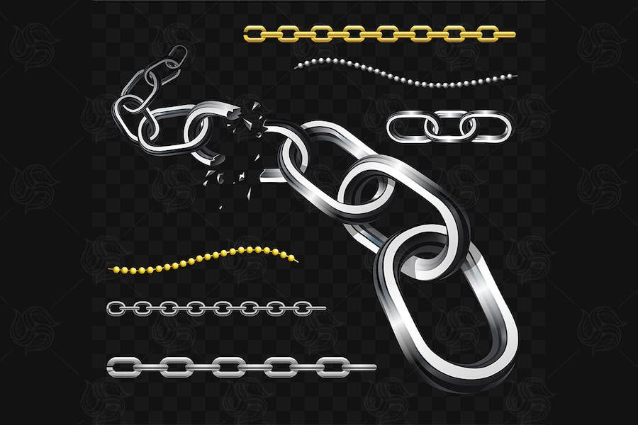 Chains - modern vector realistic isolated clip art