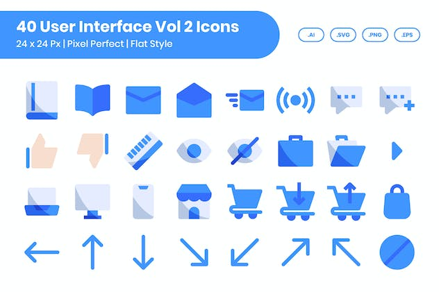 40 User Interface Vol 2 Icons Set - Flat
