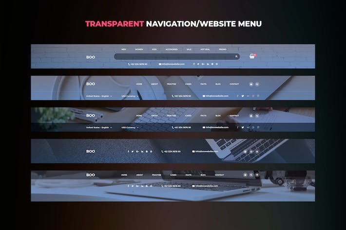 Thumbnail for Transparent Website Menu UI Kits vol. 02