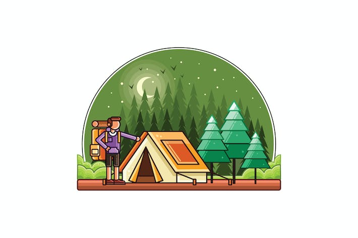 Thumbnail for Camping Vector Graphics Line Illustration