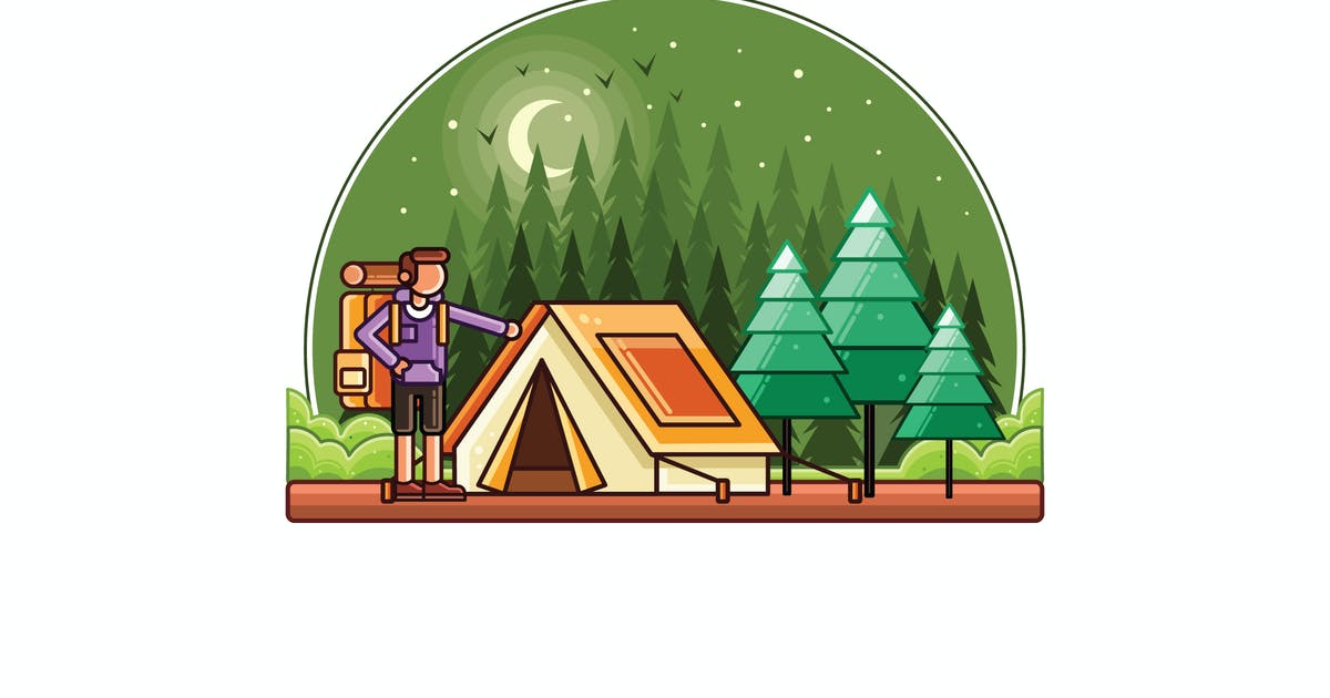 Download Camping Vector Graphics Line Illustration by IanMikraz