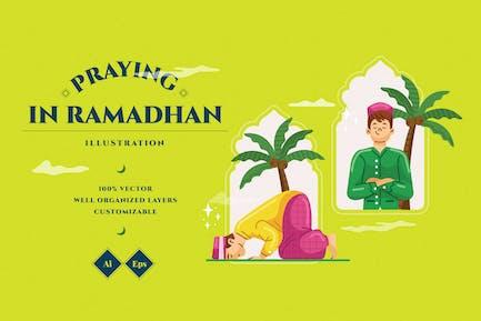 Praying In Ramadhan Illustration