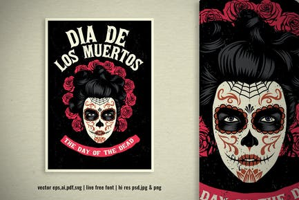 vintage illustration of mexican day of the dead