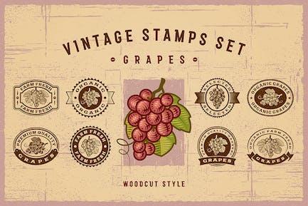 Vintage Trauben Briefmarken Set