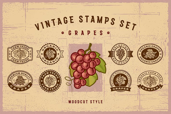 Thumbnail for Vintage Grapes Stamps Set