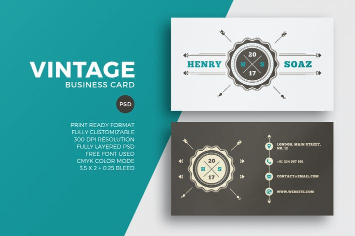Thumbnail for Vintage Business Card Template