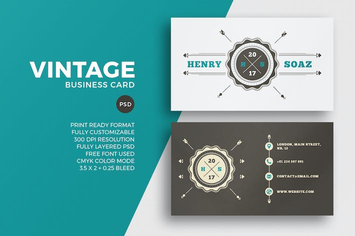 Vintage Business Card Template By Eightonesixstudios On Envato Elements