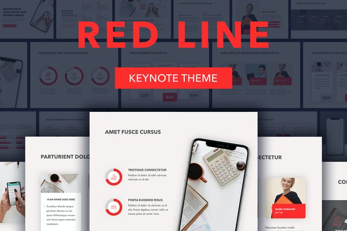 Шаблон Keynote красной линии