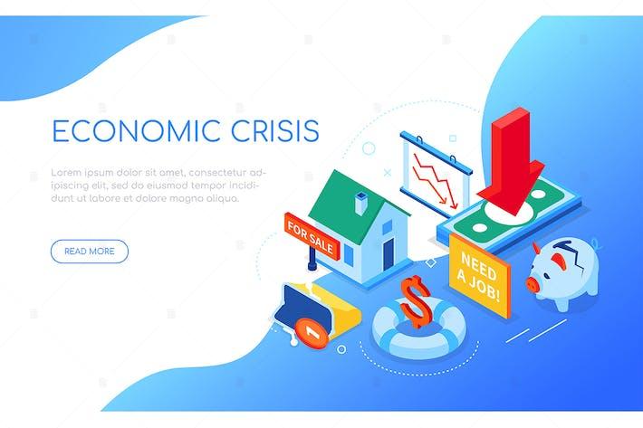 Economic crisis - colorful isometric web banner