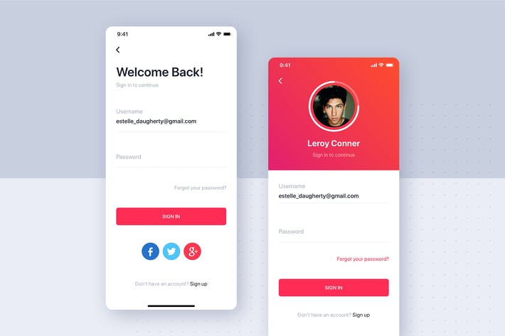 Thumbnail for Login UI mobile template