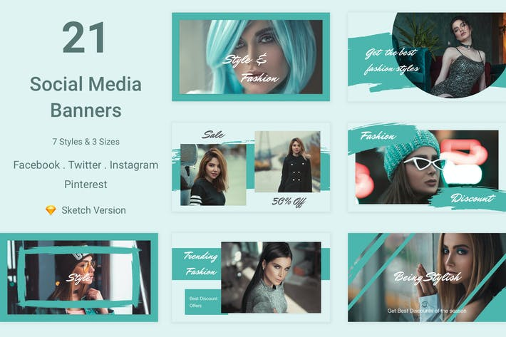 Thumbnail for 21 Social Media Banners Kit (Vol. 4) for Sketch