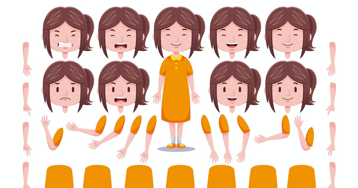 Download Front View Cute Girl Character Creation Set #4 by medzcreative