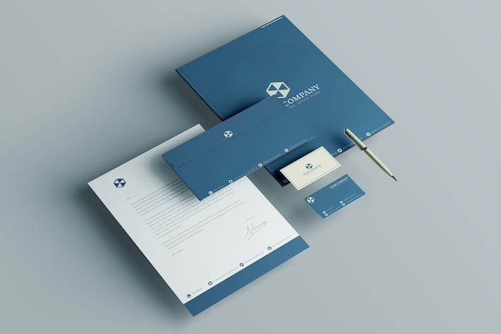 Thumbnail for Blue Brand Identity - Stationery package