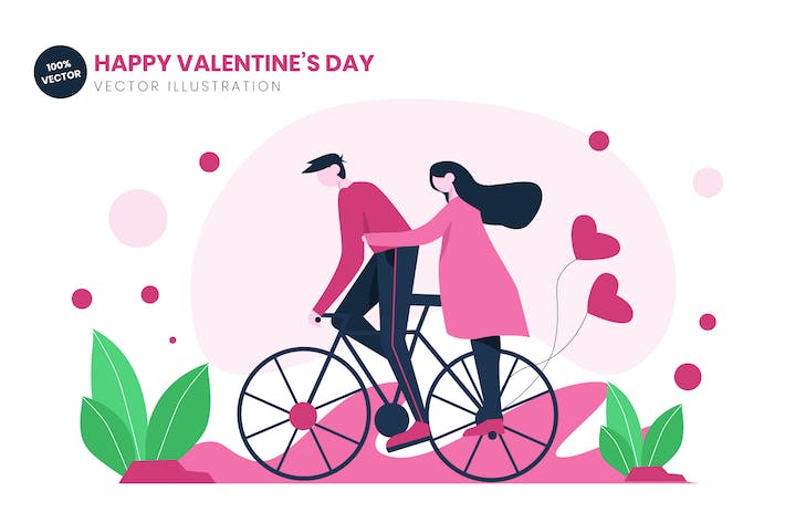 Thumbnail for Bicycling Couple On Valentines Day Flat Vector