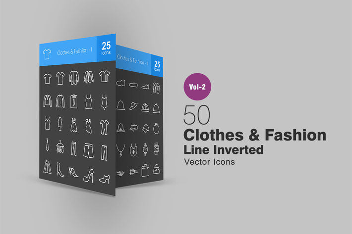 Thumbnail for 50 Clothes & Fashion Line Inverted Icons