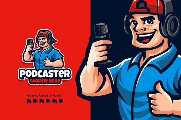 Podcaster Character Logo