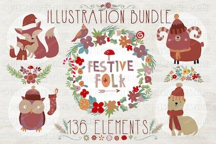 Festive Folk Illustration Bundle
