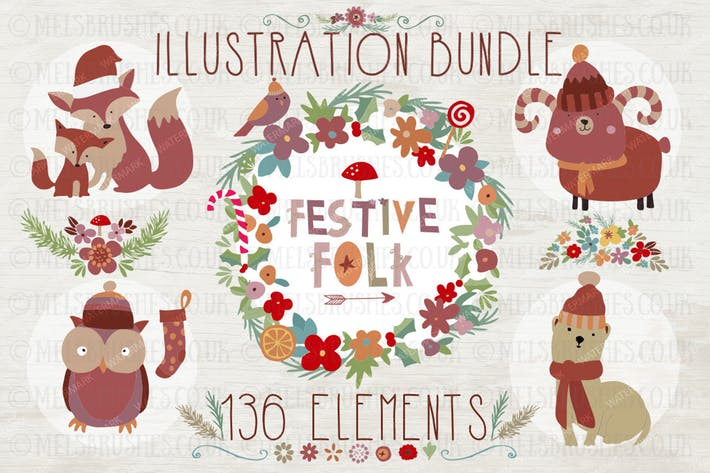 Thumbnail for Festive Folk Illustration Bundle