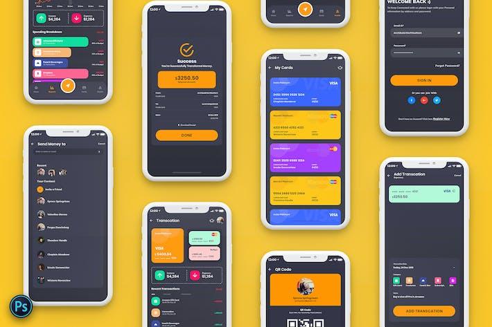 Thumbnail for Finance Mobile App Template UI Kit Dark Version
