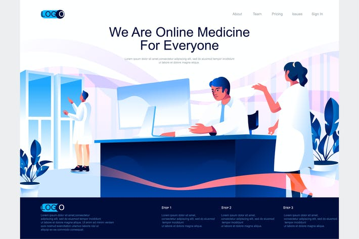 Thumbnail for Online Medicine Isometric Landing Page Template