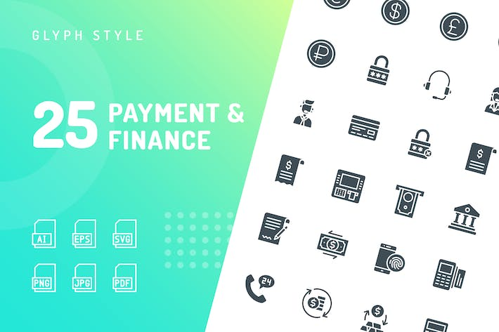 Thumbnail for Payment & Finance Glyph Icons