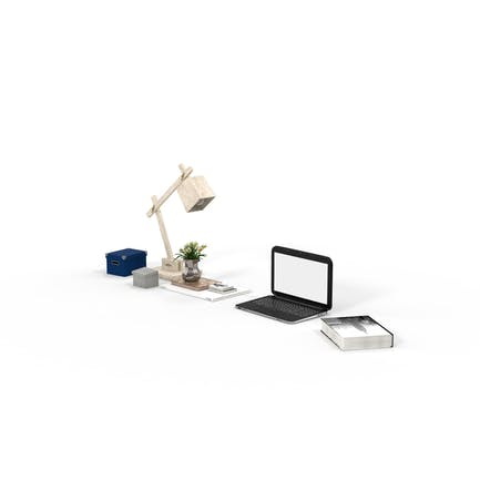 Book, Desk Lamp, Laptop and Office Supplies