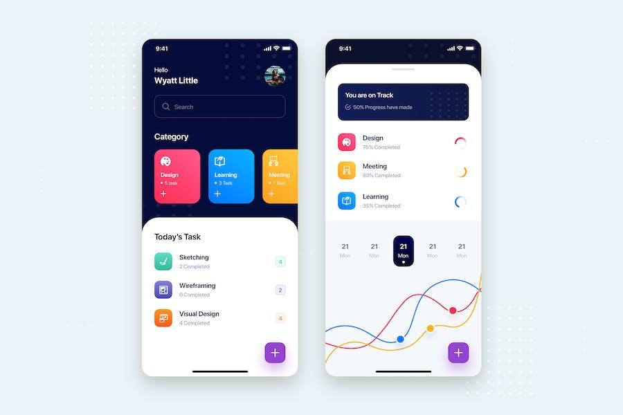 Todo List Mobile App UI Kit Template