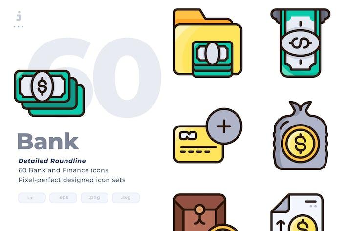 Thumbnail for 60 Bank Icon set - Detailed Round line