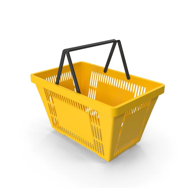 Yellow Shopping Basket With Plastic Handles