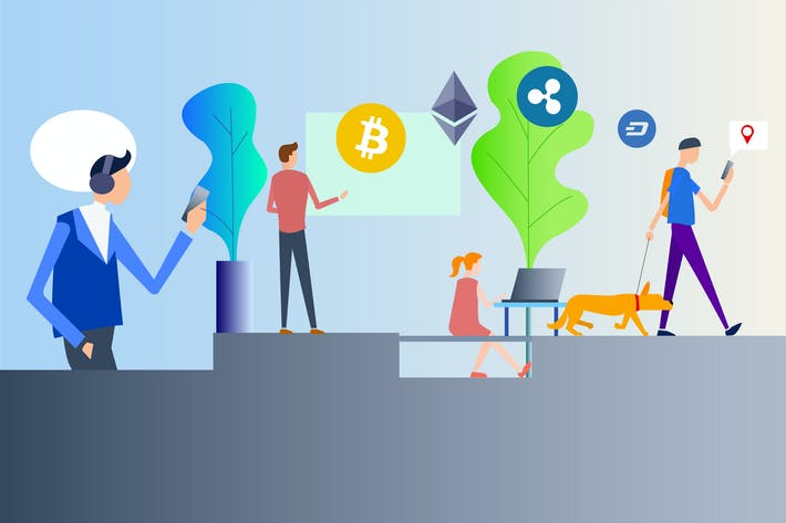 Thumbnail for Cryptocurrency Life 2D Illustration