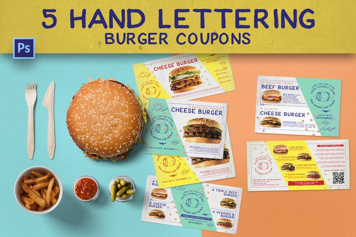 Thumbnail for 5 Hand Lettering Burger Coupons