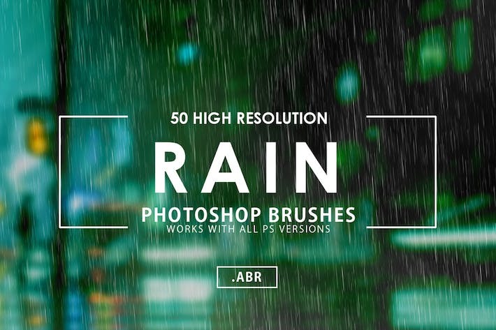 Thumbnail for 50 Rain Photoshop Brushes