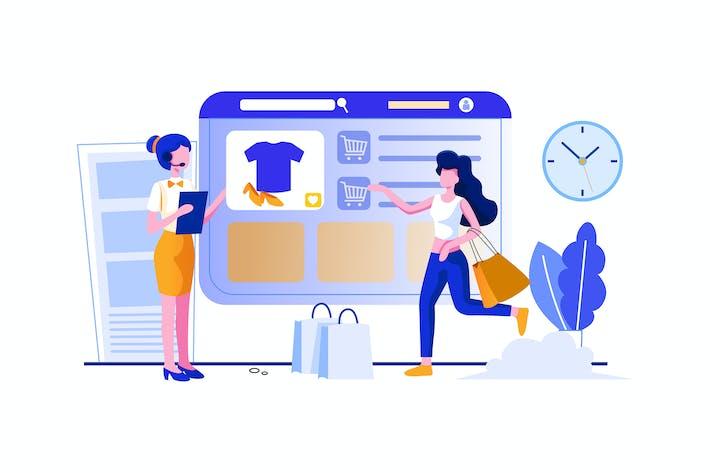 Thumbnail for Торговый персонал, направляющий клиентов, как по магазинам