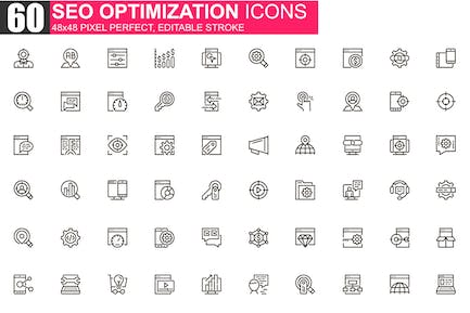 SEO Optimization Thin Line Icons Pack
