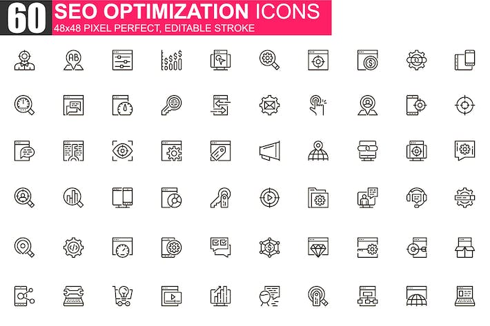 Thumbnail for SEO Optimierung Thin Line Icons Pack