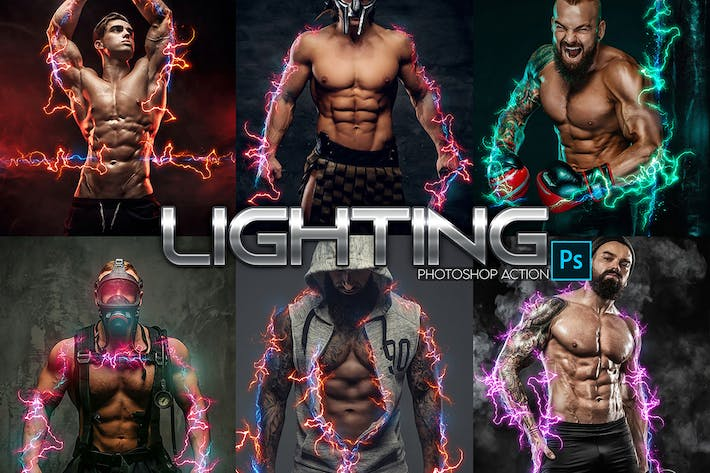 Thumbnail for Lightning Power Photoshop Action