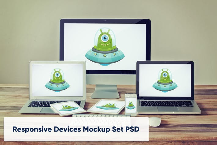 Thumbnail for Desktop, Laptops, Tablets and Phone Device Mockup