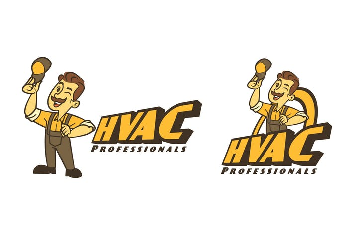 Thumbnail for Retro Cartoon HVAC Guy Mascot Logo