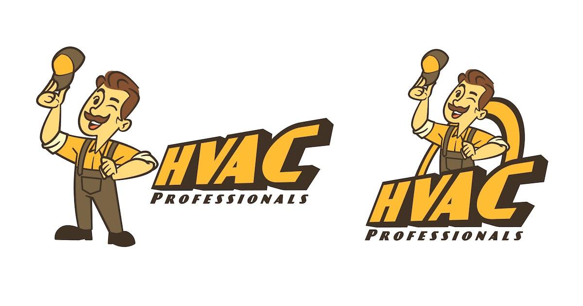 Download Retro Cartoon HVAC Guy Mascot Logo by Suhandi